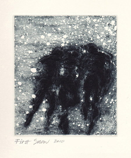First Snow 2010. etching